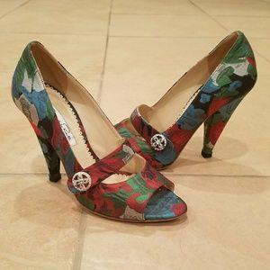 Oscar de la Renta floral peep toe multicolor heels